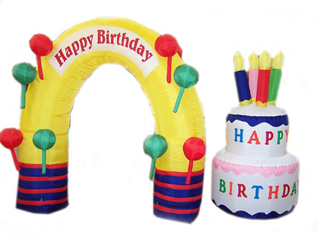 Inflatable Birthday Arch & Cake